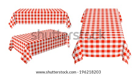 Set of rectangular tablecloth with red checkered pattern isolated on white, 3d illustration