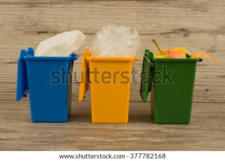 Set of recycle garbage bins, waste separation concept - stock photo