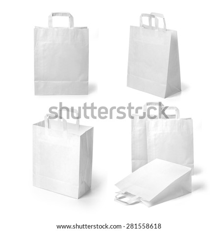 set of recycle white paper bags on white background