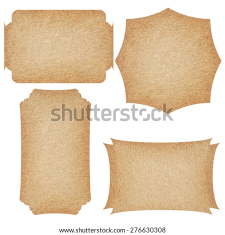 Set of recycled paper labels isolated on white background.