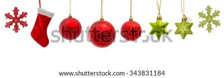 set of red and green christmas decoration isolated on white - stock photo