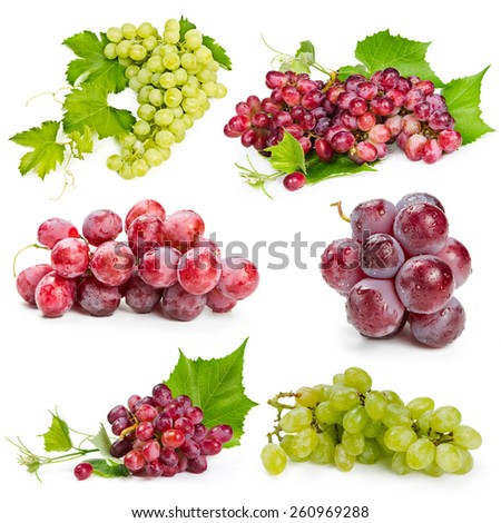 Set of red and green grapes isolated on white background - stock photo