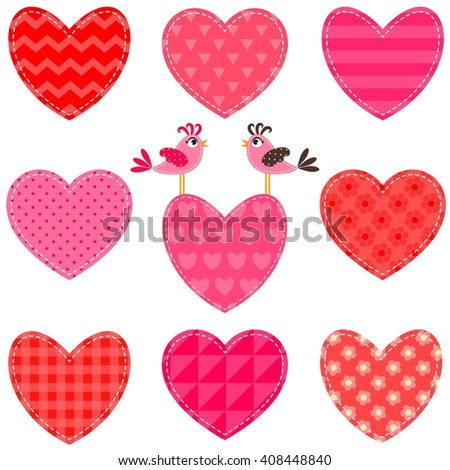 Set of red and pink hearts and birds. Raster version