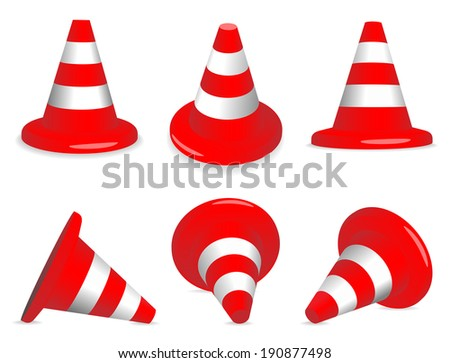 Set of red and white standing and fallen traffic-cones. - stock photo