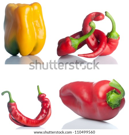 set of red and yello peppers isolated on white