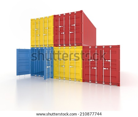 Set of red, blue and yellow metal freight shipping containers on white background - photorealistic 3d perspective render - stock photo