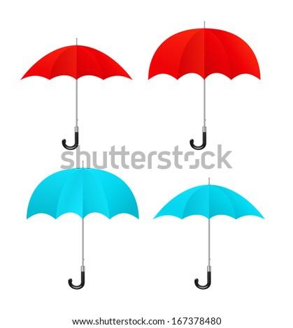Set of red, blue umbrellas - stock photo