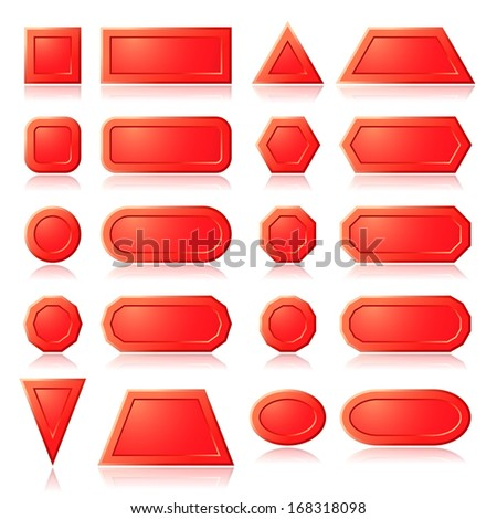 Set of red buttons shapes