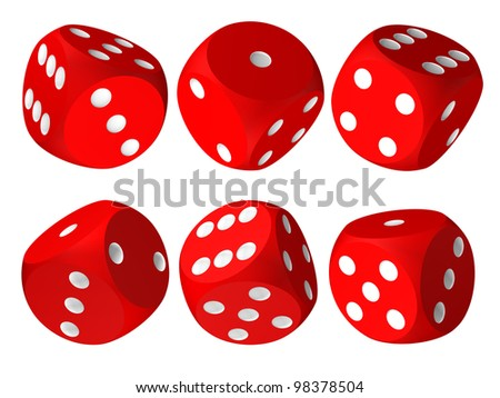 Set of red casino craps or dices, isolated over white - stock photo