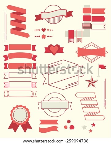 Set of red design element banners, ribbons and emblems - stock photo