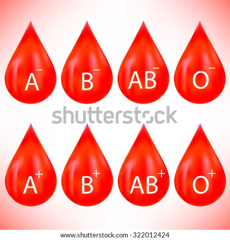 Set of Red Drops Isolated on Pink Background. Blood Drop Icons - stock photo