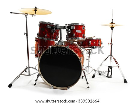 Set of red drums isolated on white background - stock photo