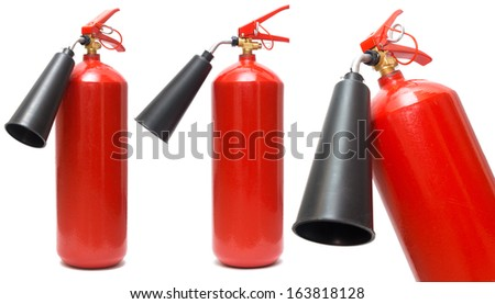 set of red fire extinguishers on a white background - stock photo