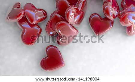 set of red glossy hearts on white background