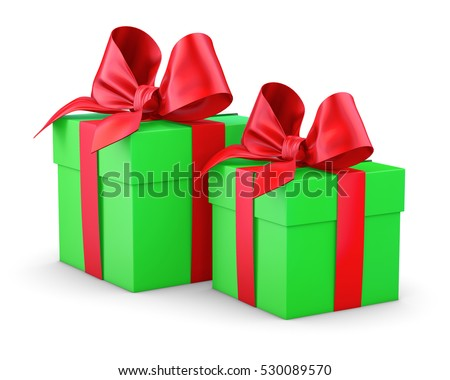 set of red green gift box isolated for Christmas, New Year's Day 3d rendering