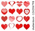 set of red hearts (raster version of the vector) - stock photo