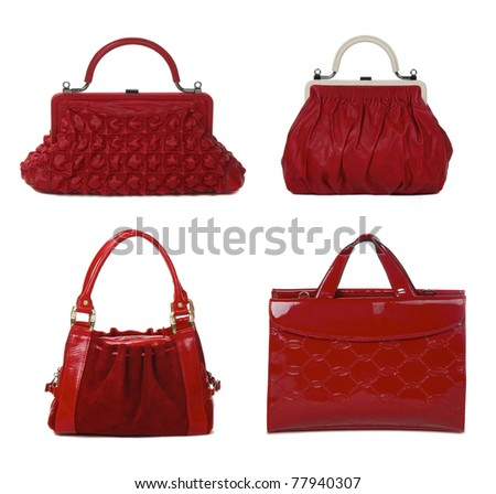 set of red leather female bags isolated on white - stock photo