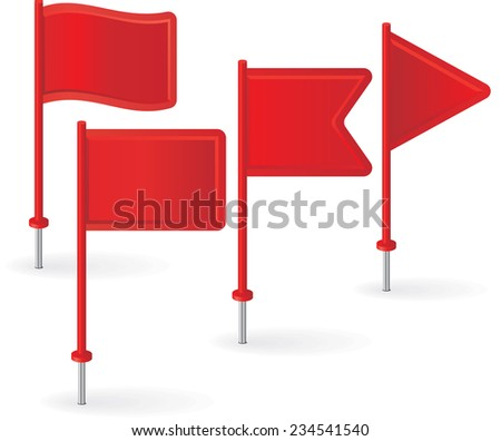 Set of red pin flags. Raster version - stock photo
