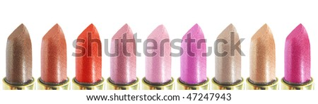 set of red pink and brown lipsticks