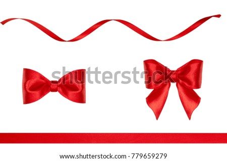 set red ribbon bows ribbons made stock photo royalty free
