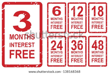 Set of red rubber stamps for interest free concept, including 3, 6, 12, 18, 24, 36 and 48 months interest free