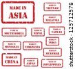 Set of red rubber stamps of Made In symbols for Asia, including China, India, Japan, Nepal, Vietnam - stock photo