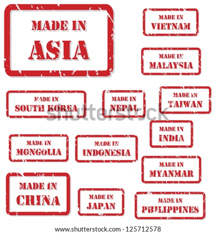 Set of red rubber stamps of Made In symbols for Asia, including China, India, Japan, Nepal, Vietnam