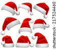 Set of red Santa Claus hats isolated on white background - stock photo