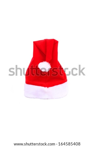 Set of red Santa Claus hats isolated on white background