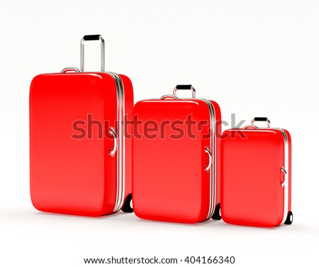 Set of red suitcases large, medium and small isolated on white background. 3d illustration - stock photo