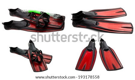 Set of red swim fins, mask and snorkel for diving isolated on white background - stock photo