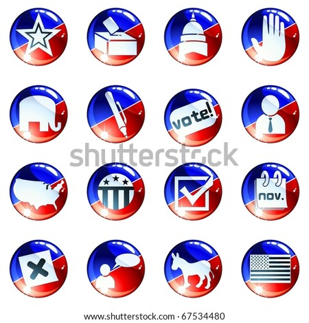 set of red white and blue election icons (jpg); vector version also available - stock photo