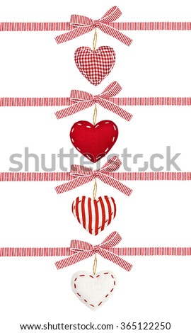 Set of red white ribbon in a strip, with bows and the hearts, isolated on white background