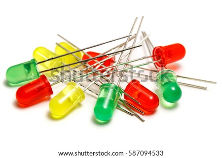 Set of red, yellow and green LED diodes on a white background