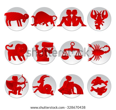 Set of red zodiacal signs with figure on white circles - stock photo