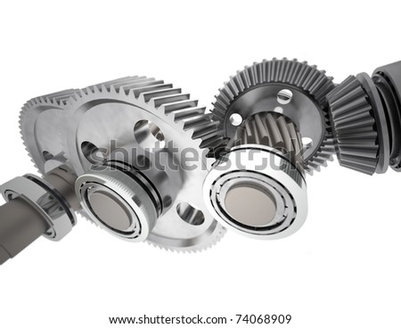 Set of reduction gears from simple gearbox.