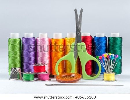 Set of reel of thread for sewing and needlework.