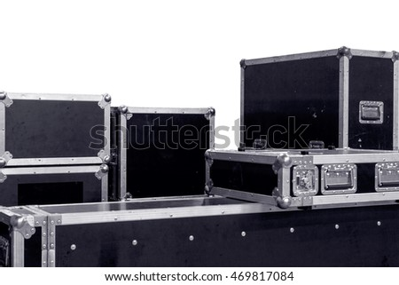 set of rental companies grunge aluminium wooden flight cases. isolated on the white background for equipment