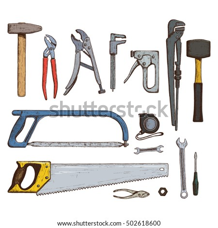 Set of repair tools icons. Stock illustration.