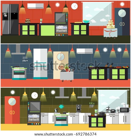 Restaurant Kitchen Illustration vector banner restaurant interiors kitchen dining stock vector