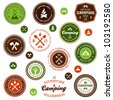 Set of retro camping and outdoor adventure badges and labels - stock photo