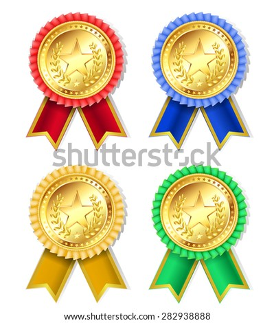 set of retro golden award with stars and ribbons  - stock photo