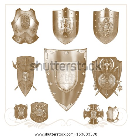 Set of retro  heraldic elements for design   - stock photo