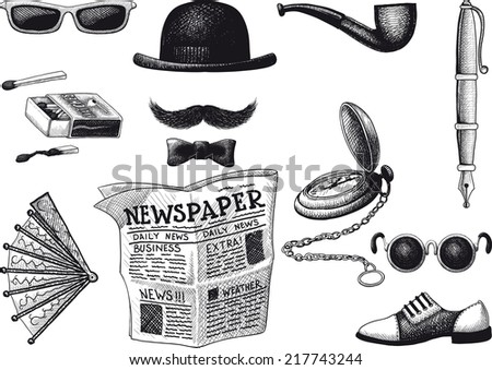 set of retro hipster. Everything you need in order to look fashionable - stock photo