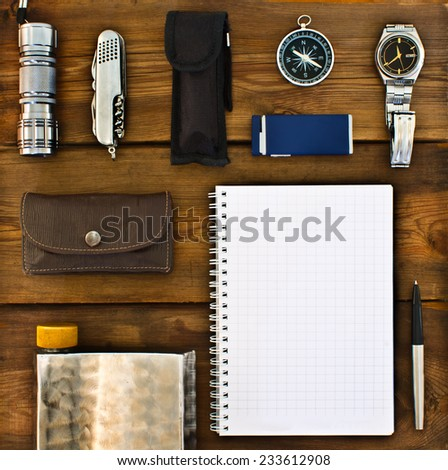 Set of retro items for tourists and travelers - stock photo