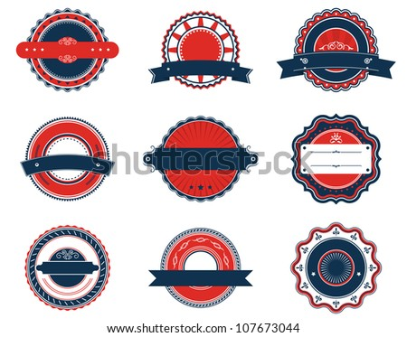 Set of retro labels for sticker, badge or emblem design. Vector version also available in gallery - stock photo