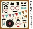 Set of retro party elements. Raster version - stock photo
