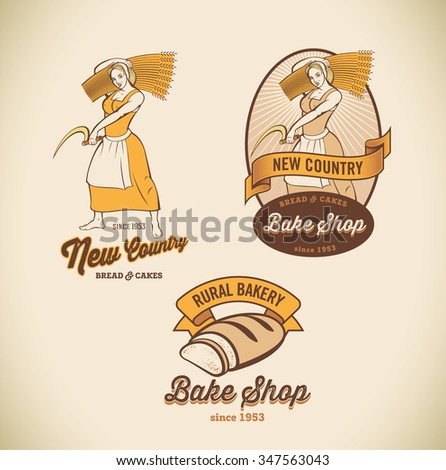 Set of retro-styled bakery labels including images of country woman and rustic bread. Raster image.