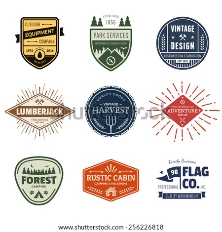 Set of retro vintage badges and label graphics - stock photo
