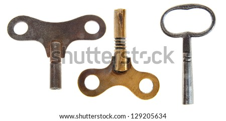 set of retro wind for wind the clockwork mechanism isolated at white background. - stock photo